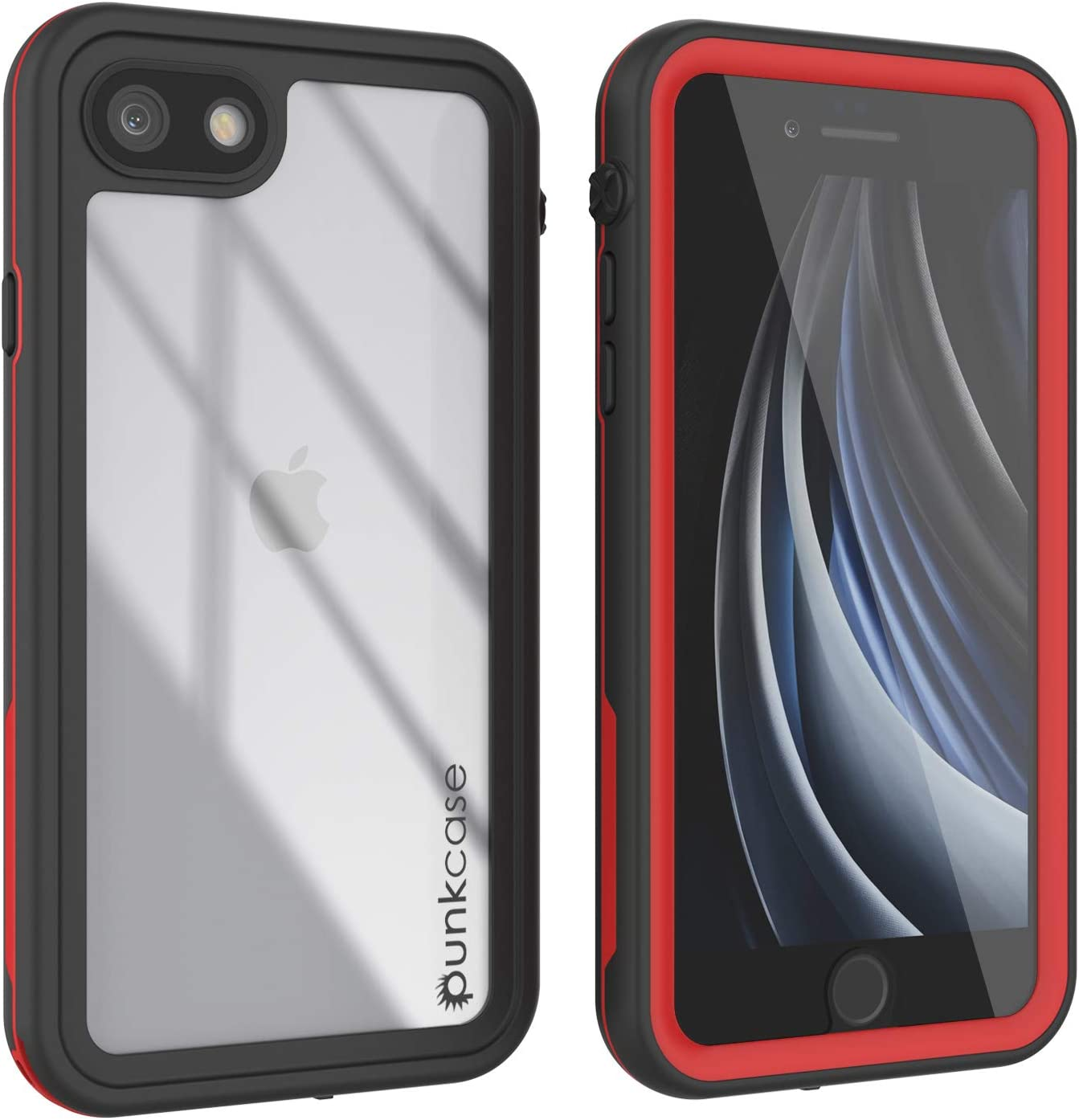 """Punkcase SE 2020 Waterproof Case [Rapture Series] Protective IP68 Certified Full Body Cover W/Built in Screen Protector [Clear Back] for Apple iPhone SE (2020) (4.7"""") (Red)"""