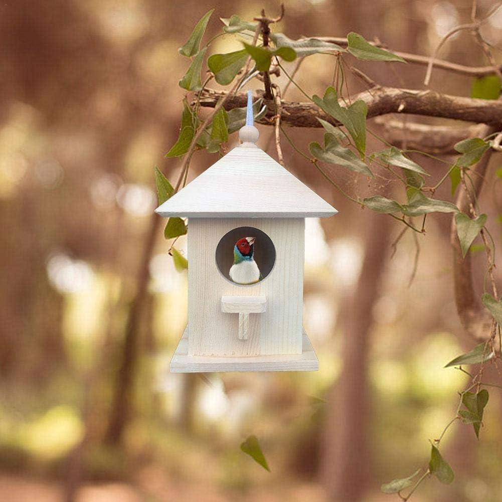 Motto.H - Comedero para pájaros salvajes, colgante para el exterior, jaula de cría de pájaros con cuerda colgante para casa de pájaros hexagonal de madera, para jardín balcón 2019