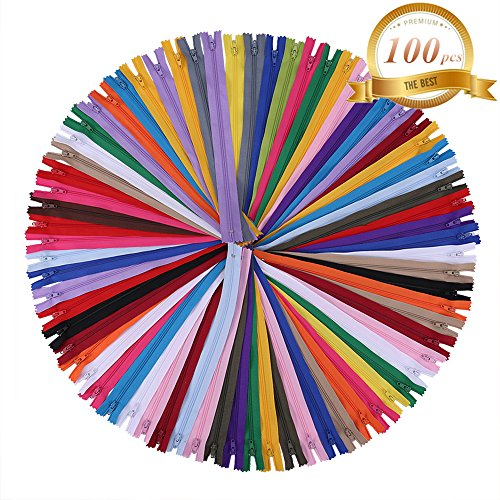 SUNVORE 12 inch Zippers - Nylon Coil Zippers Bulk - Supplies for Tailor Sewing Crafts - Pack of 100 by SUNVORE