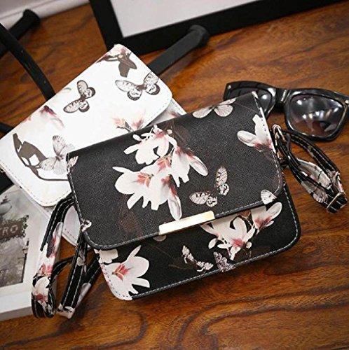 Sannysis mujer Mini Bolsa De Mensajero, Bolso del hombro, Bolso floral (Blanco) Negro
