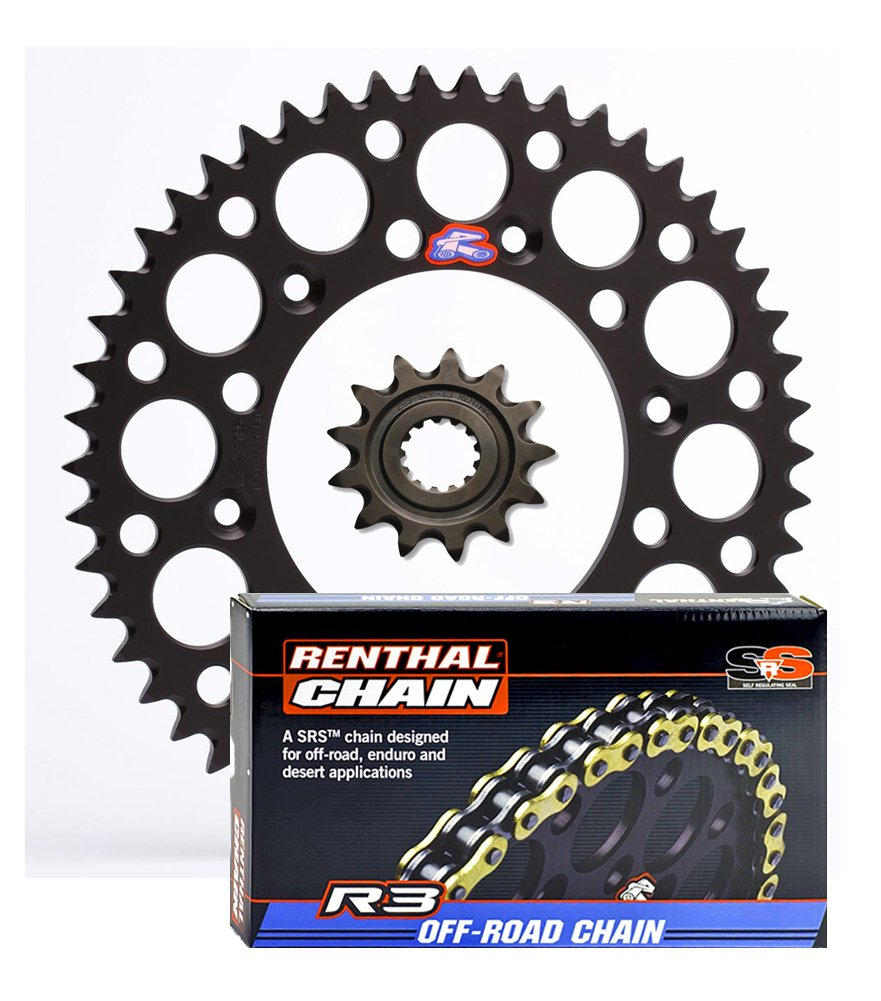 compatible with Yamaha WR250F YZ125 Renthal Grooved Front /& Ultralight Rear Sprockets /& R3 O-Ring Chain Kit 13//50 BLACK YZ250F