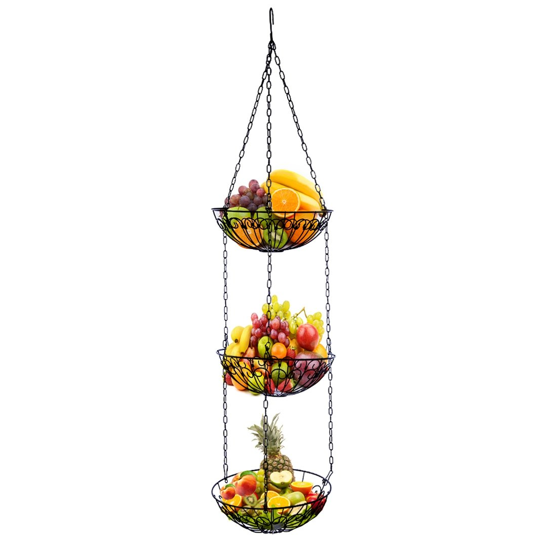 Petforu 3-Tier Kitchen Hanging Baskets Fruit Bowl Vegetable Holder Storage Simple Functional with Chains