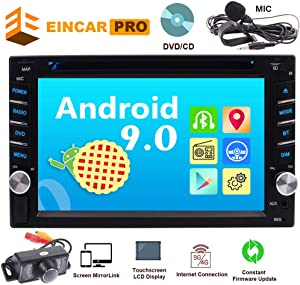 Car Radio Android 9.0 Car Audio DVD/CD Player 2 Din Head Unit in Dash Double Din Car Stereo 6.2 Inch Multi Touch Screen Bluetooth Support 1080P Video WiFi AM FM Radio Free Backup Camera External MIC