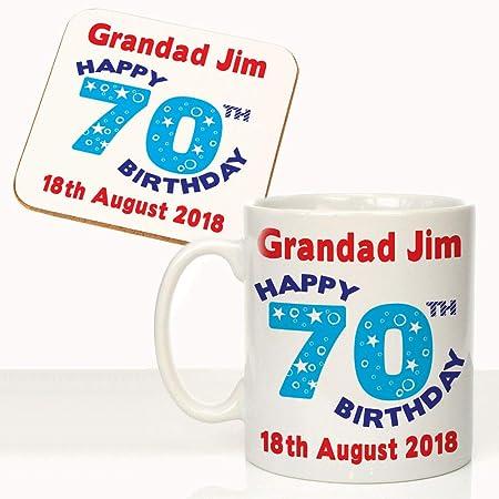 Personalised Mens 70th Birthday Mug Coaster Set Grandads Gift Idea By Crazy Tonys