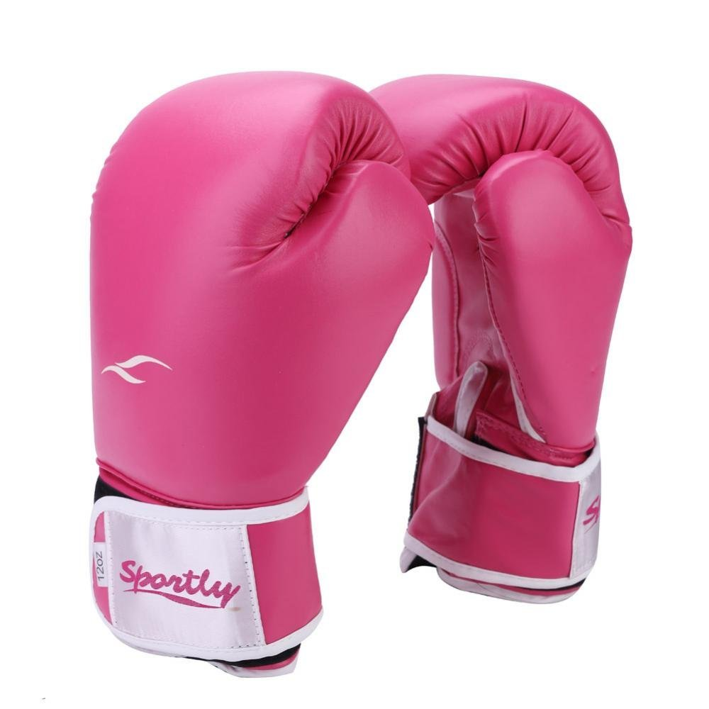 Boxing Gloves, Leather Adult Kickboxing Training Mitts Fight Gloves for Fitness Training(Black) Dilwe