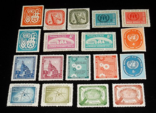 - United Nations (NY) Stamps 1958-1959 Complete Year Set Mint Singles NH #59-76 + C6-7