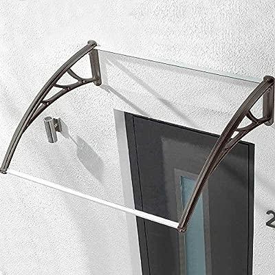 Bakaji Abri Polycarbonate Transparent Pour Portes Et Fenêtres Modulaire Canopy Extérieur Jardin Terrasse Balcon Couleur Noir 90 X 120 Cm
