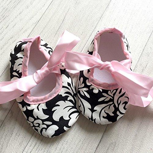 Bailarina suave bebé de 0a 12meses, Modelo Barroco rosa 3/6Meses, 6/9Meses, 0/3meses, 9/12Meses rosa rosa Talla:9/12 mois