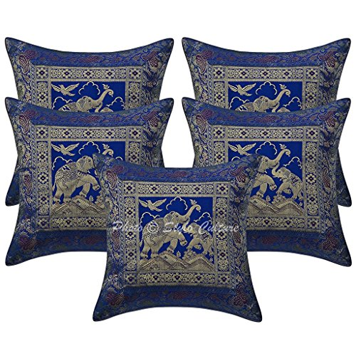 Stylo Culture Indian Decorative Throw Pillow Covers Brocade Jacquard Elephant Blue Floral Square Couch Pillow Covers 40x40 cm | Set of 5 ()
