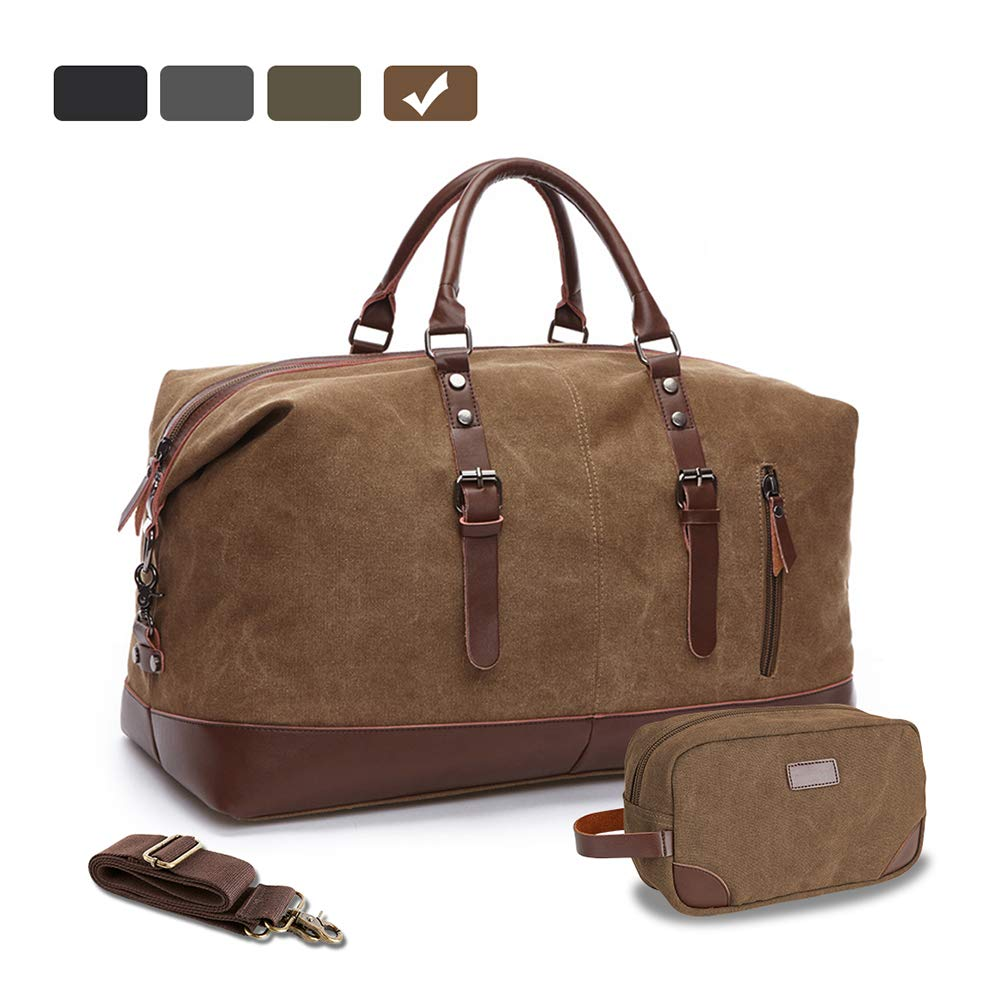 808ff4da34 MAGE MALE Canvas Travel Duffel Bag PU Leather Weekend Bag Overnight Carry  on Gym Tote Handbag Luggage with a Storage Pouch