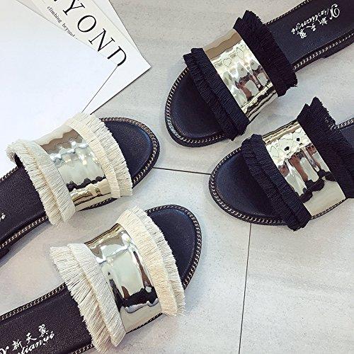 Ouvert Blanc Femmes Cass Plates Sauvages De Simples Ittxtti Bout Pantoufles Sandales Plage D't Pour 40 Chaussures 5twTx6