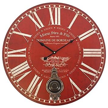 Amazonde Wanduhr Groß Rund Rot Uhr Mit Pendel Batteriebetrieben 58 Cm
