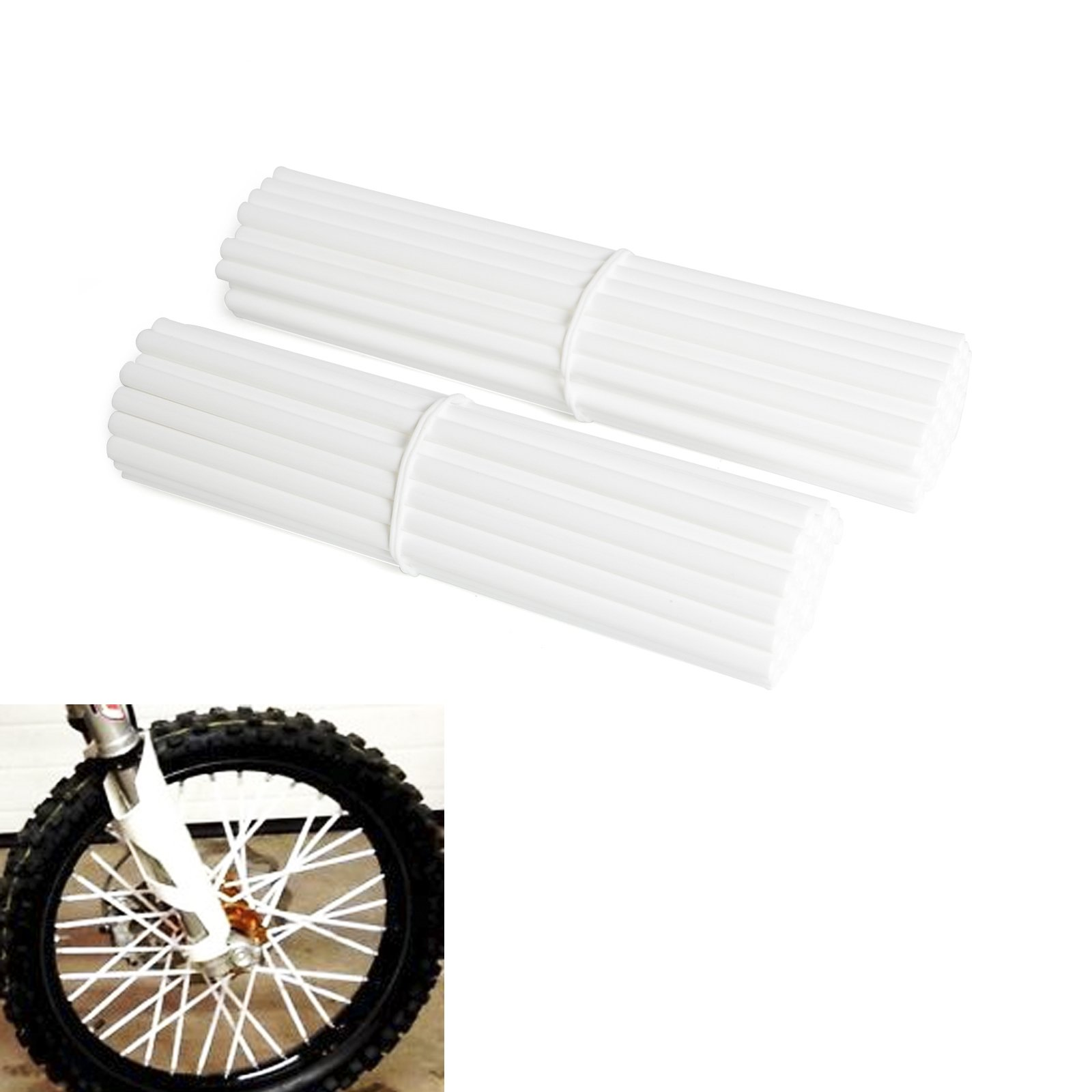 NICECNC White Spoke Wraps Covers for 17-21 Inches Wheel Dirt Bikes MX Enduro Supermoto