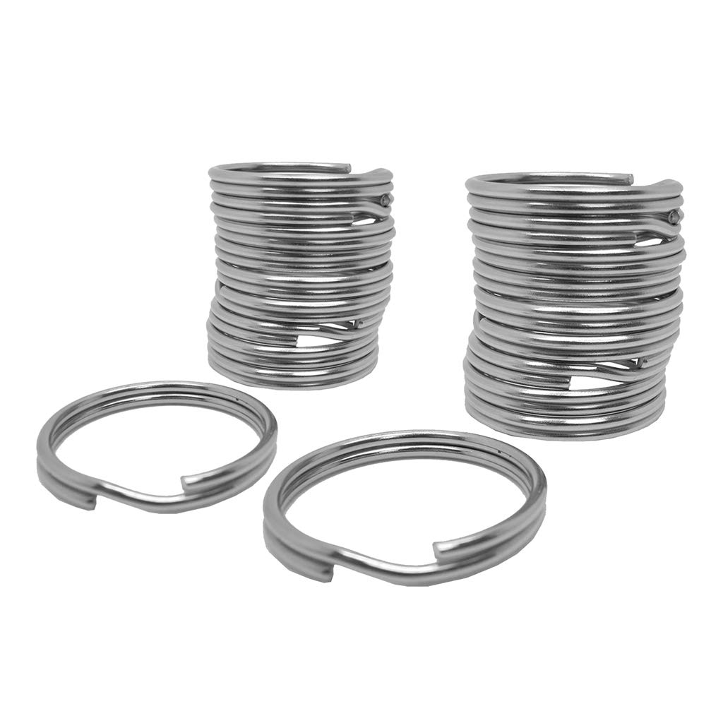 Baosity 20X Durable Portable 316 Stainless Steel Gear Attachment Split Ring for Underwater Scuba Diving Surfing Boating 30mm+22mm