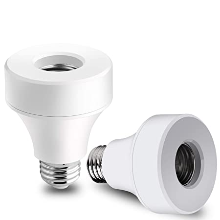 Venoro Smart WiFi Bulb Socket, E26 E27 Bulb Adapter Base Converter LED Light Lamp Timer Holder Compatible with Alexa and Google Assistant, No Hub Required, Timing Function 2 Pack