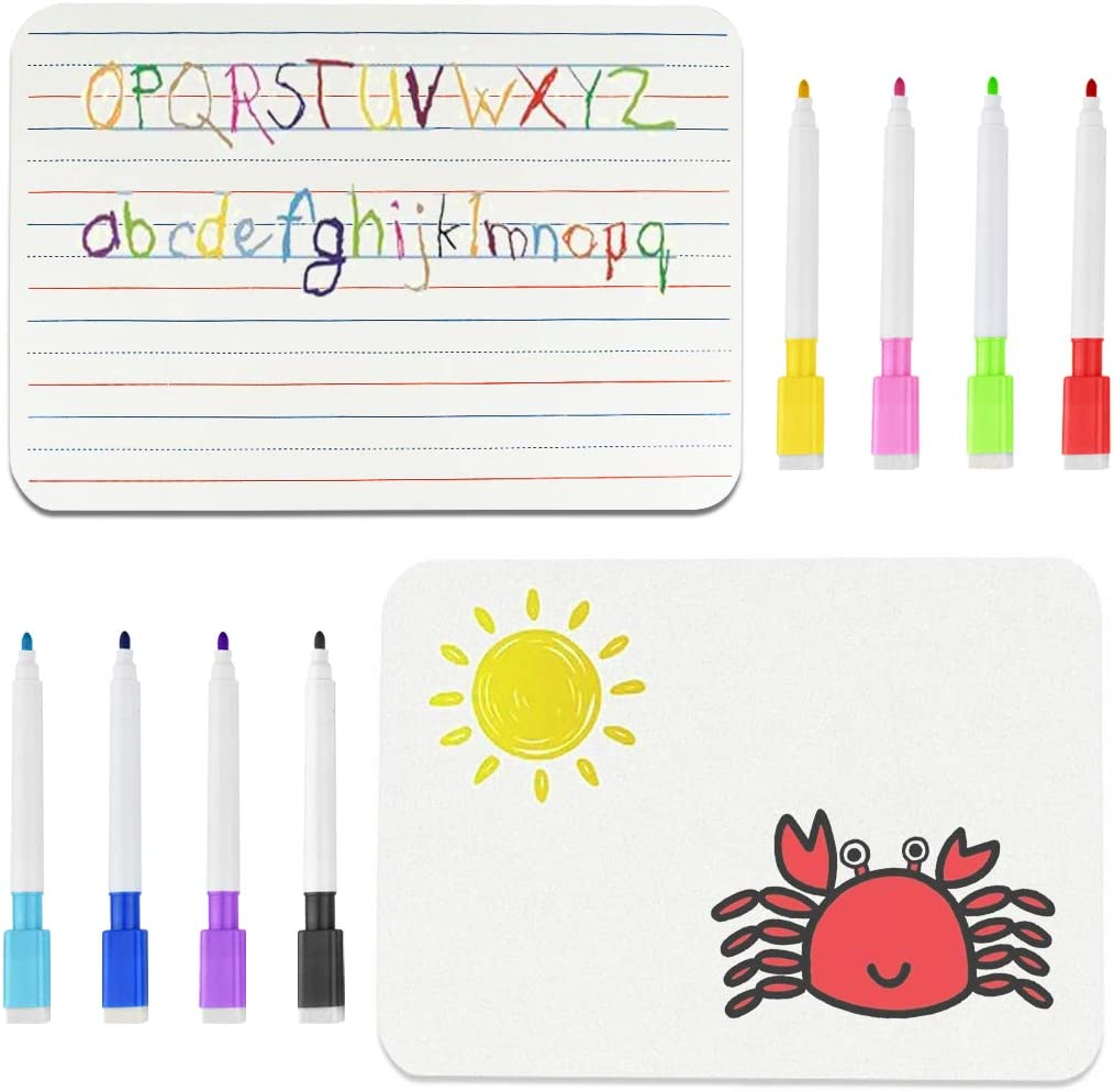 2pcs Dry Erase Ruled Lap Boards Double Sided Dry Erase Boards with 8 Color Mixed Erasable Pens for Students Teachers Classrooms Office Supplies, 21x30cm/8.3x11.8 inch