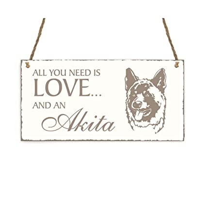 Placa decorativa, « All You Need is Love And A Akita » perro ...