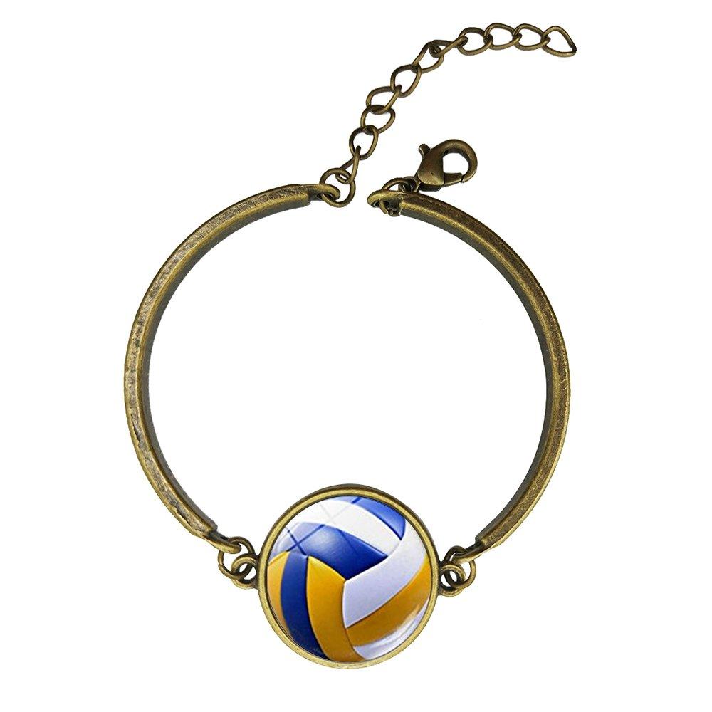 Adjustable Vintage Bronze Bracelets Vintage Volleyball Copper Bangle Custom Glass Cabochon Charm Brace Lace