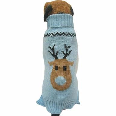 Fossrn Ropa Perro Navidad Suéter de Punto Abrigo Jersey de Reno Patrón: Amazon.es: Productos para mascotas