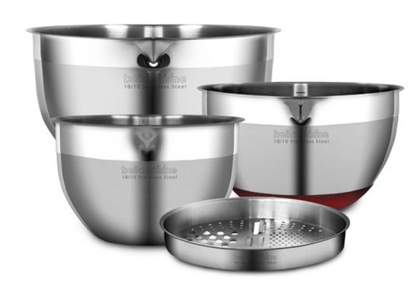 Large Capacity Stainless steel 18/10 Salad Bowl Mixing Bowl Pot 4PC Set Confectionery Baking Dough Fruit Vegetables Cleaning