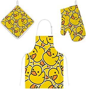 My Daily Cooking Apron with Pockets, Oven Mitt and Pot Holder Set, Cartoon Duck Yellow Adjustable Apron, Microwave Glove, Potholder 3 Piece, Kitchen Gift Set