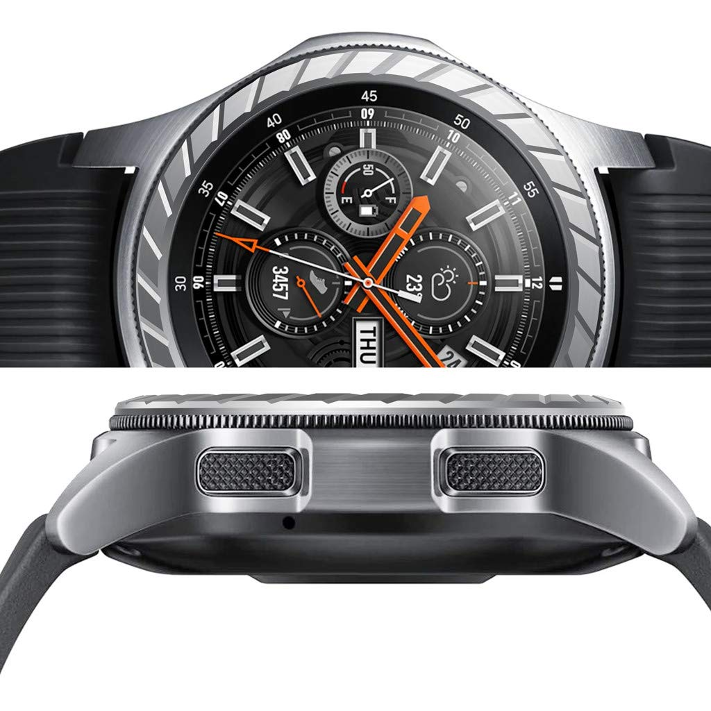 Montre intelligente couverture pour Samsung Galaxy montre 46 MM lunette anneau adh/ésif couverture anti-rayures m/étal by Fulltime argent