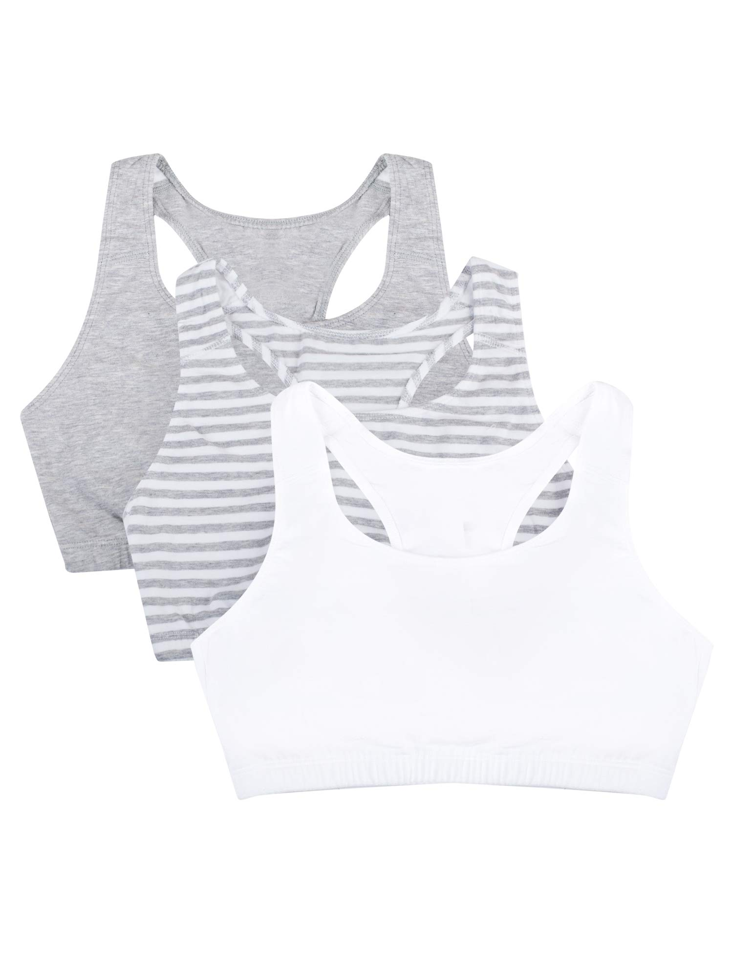 Fruit of the Loom Women's Built-Up Sports Bra 3 Pack Bra, Skinny Stripe/White/Heather Grey, 34