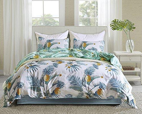 Fire Kirin Leaf Duvet Cover Sets 3 Piece (1 Duvet Cover + 2 Pillow Shams) Blue/White Pineapple Leaves Pattern Bedding Comforter Cover Sets for Boys Girls Women Men (Queen)