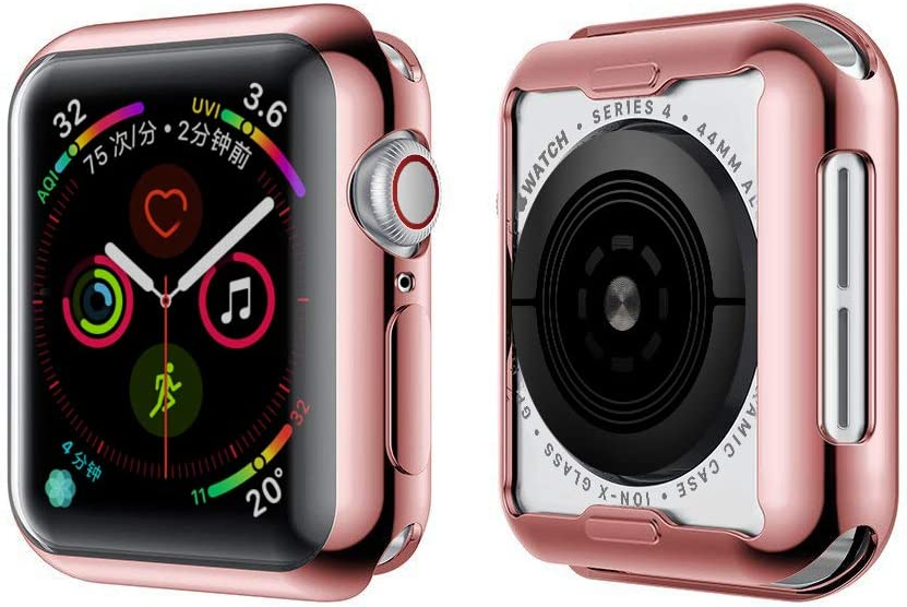 Toosunny Case for Apple Watch 6/5/4 Case Soft Plated TPU Built-in Screen Protector All-around Protective Case High Defination Clear Ultra-Thin Cover for Apple iwatch 44mm Series 6 / SE / Series 5 / Series 4