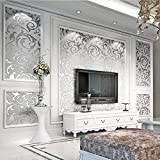 Non-Woven 3D Wallpaper, Print Embossed, Modern Stripe Fashion Wallpaper for Livingroom, Bedroom, Kitchen and Bathroom (silver)