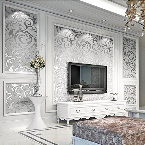 ARUHE® Neuest europäische Minimalismus Blätter Silber Tapete 10M Beste Dekoration für Wohn /Schlafzimmer/TV-Einstellung Tapete