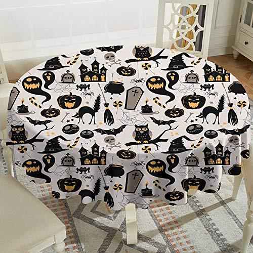 Cranekey Fabric Tablecloth 36 Inch Vintage Halloween,Halloween Cartoon Jack o Lantern Tombstone Skulls and Bones,Light Grey Multicolor Great for,Holiday & -