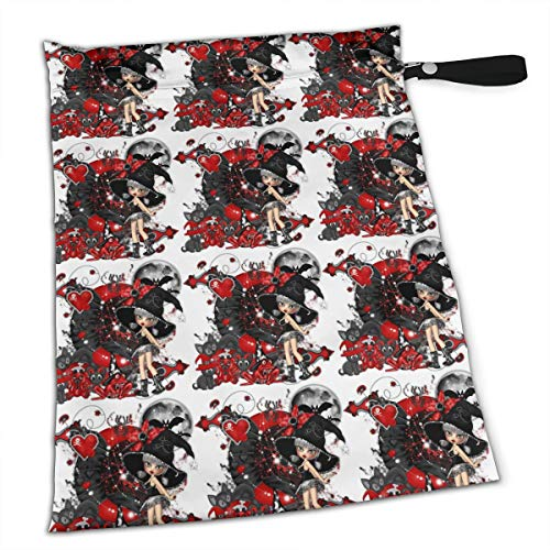 Pummbaby Gothic Halloween Dog Pet Girl Spider Bat Workout Laundry Reusable Wet Dry Separation Travel Beach Gym Tote Bags Wet Dirty Clothes Wet Wipe Holder Diaper Packing Bag Pads Hanging