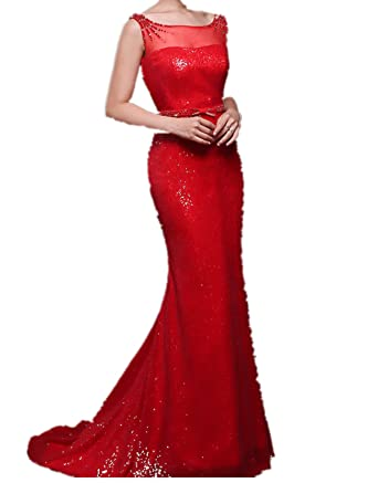 HP7 BEADING Evening Dresses party full length prom gown ball dress robe (6, red