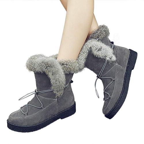 HooH Botines para Mujer Plataforma de Gamuza Plana Cordón Cordones Suave Piel de Conejo cálido Forrada Otoño Invierno Botas de Nieve: Amazon.es: Zapatos y ...