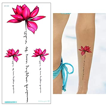 Lotus Blumen Tattoo Aufkleber Fake Tattoo Rosa Qc656 Amazon