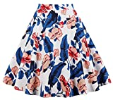 Cleaivy Women's Midi Pleated A Line Floral Printed Vintage Skirts (White Blue Leaf Flower, 3X-Large)