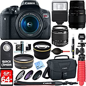 Canon EOS Rebel T6i Digital SLR Camera Wifi + EF-S 18-55mm IS & Sigma 70-300mm Lens Kit + Accessory Bundle 64GB SDXC Memory + DSLR Photo Bag + Wide Angle Lens + 2x Telephoto Lens +Flash+Remote+Tripod