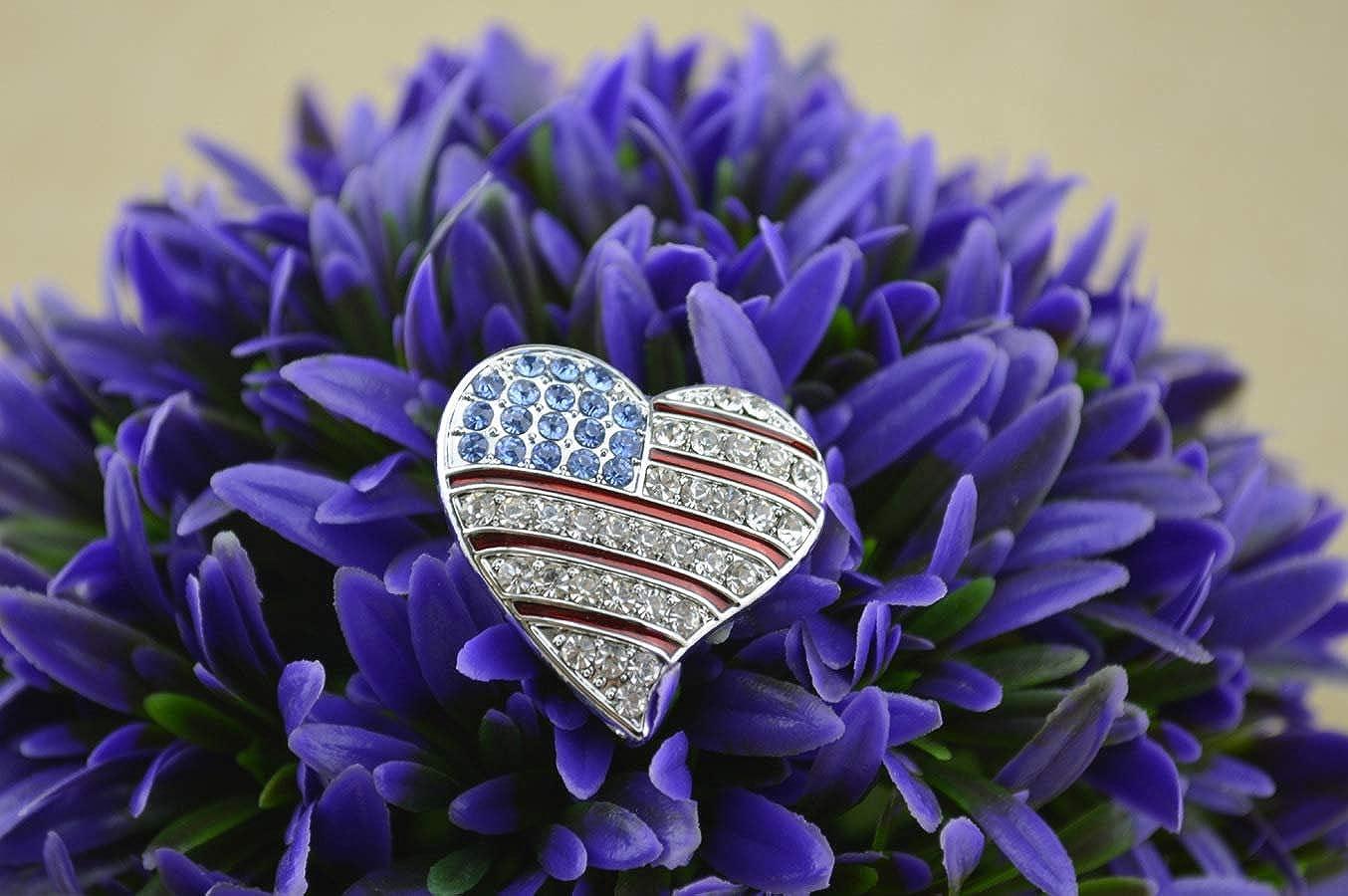 PunkStyle 2PC Crystal American Flag Brooch Pin USA Patriotic Jewelry