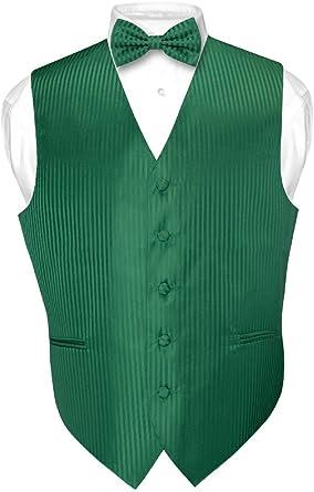 Mens Dress Vest /& Bowtie Emerald Green Color Vertical Stripe Design Bow Tie Set