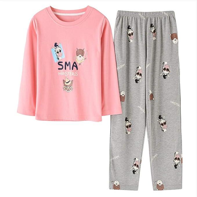 Meaeo Patrón De Pijamas De Patrón De Vaca Animal Animal Set Manga Larga Sleepwea Traje De Sueño Femenino Conjunto De Dos Piezas Loungewear Tamaño Grande: ...