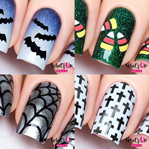 Halloween Nail Vinyl Stencils 4 pack (Spider Web, Crosses, Candy Corn, Bats) for Nail Art Design]()