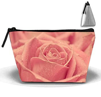 Amazon.com   Trapezoidal Cosmetic Pouch Vintage Pink Roses Clutch Makeup Bag    Beauty bb5491d7dcf14