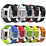 MoKo Fitbit Ionic Watch Band, [10 PACK] Colorful Soft Silicone Perforated Adjustable Strap for Fitbit Ionic Smart Watch, Small Size 4.53''-8.07'' (115mm-205mm), 10PCS (Multi-Colors)