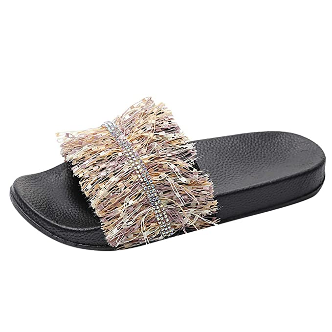 21dd3984e52cb Amazon.com: Fuzzy Sandals Slides Soft Flat for Indoor Outdoor ...