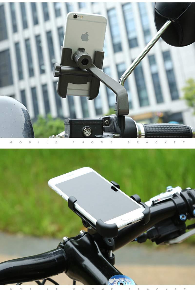 Soporte Móvil Moto,Homeet Soporte Telefono Motocicleta Universal Aleación de Aluminio 360 Rotación Soporte Moto Retrovisor Antideslizante para 4.7\