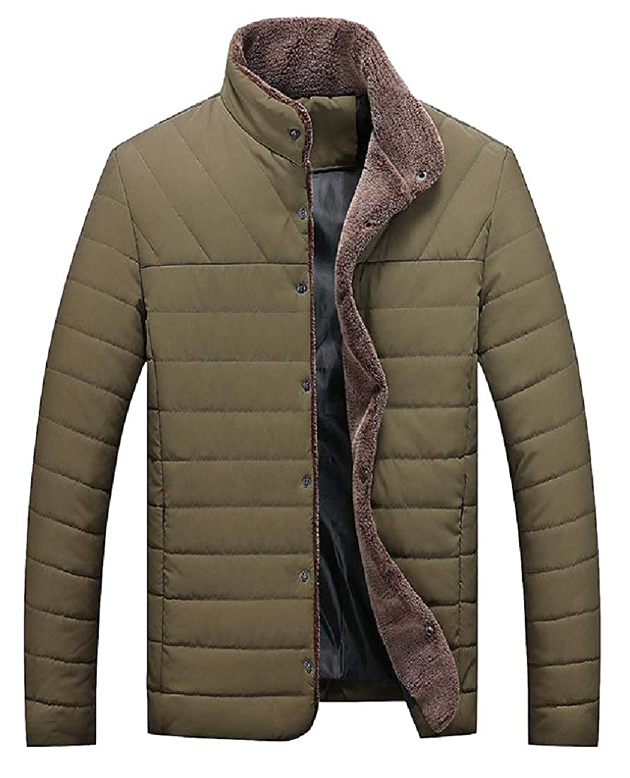 Tootless-Men Slim Casual Fluffy Collar Press Button Quilted Jacket