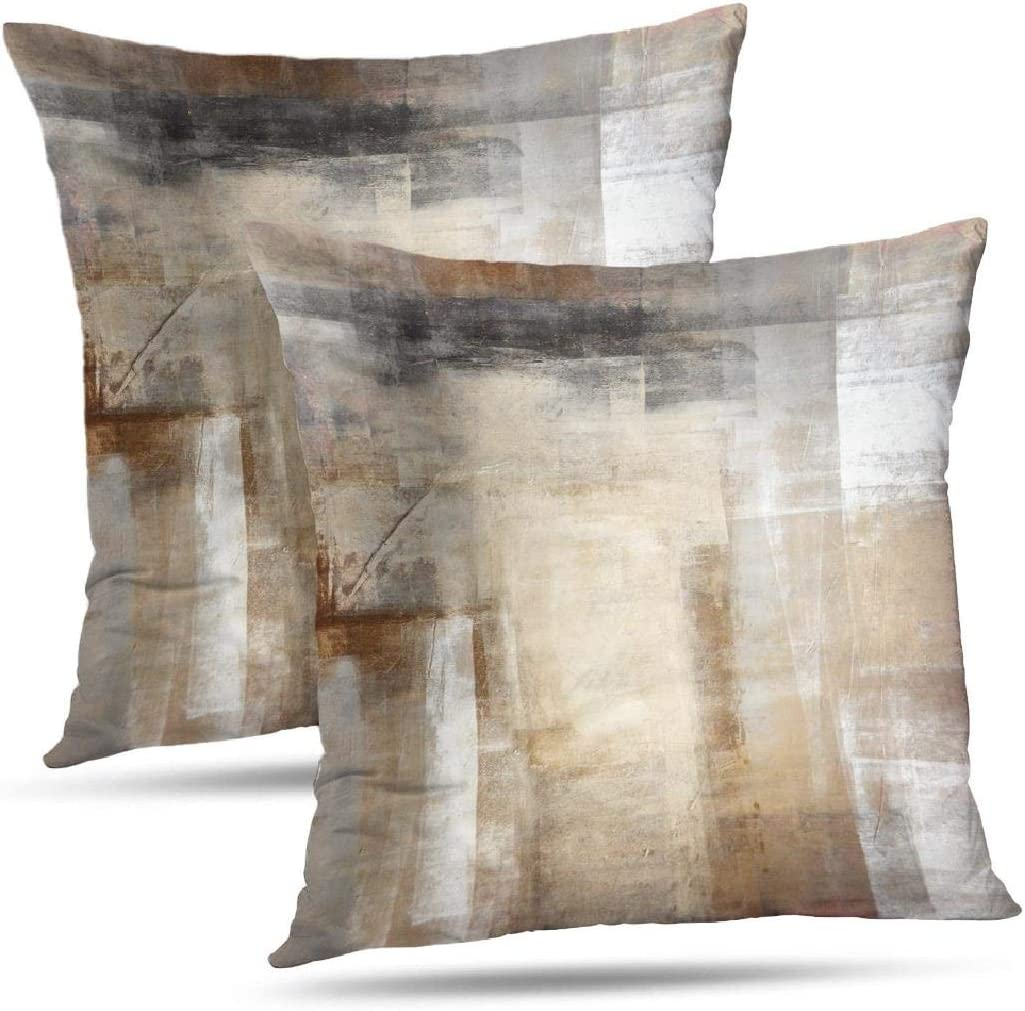 Amazon Com Onelz Abstract Art Throw Pillow Covers Brown And Beige Abstract Art Painting Double Sided Cushion Cover 18 X 18 Decorative Home Gift Bed Pillowcase Abstract Art 12 Home Kitchen