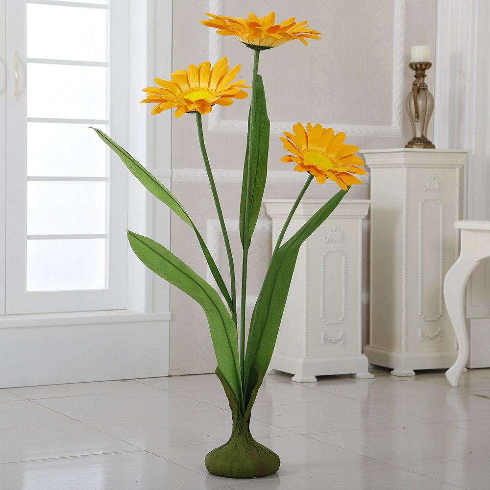 ZF-265 45'' Free Standing Paper Daisies(Yellow, 4pcs) by Flora Bunda