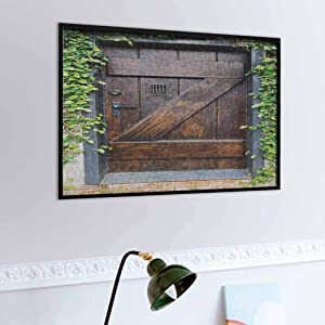 Jigsaw Puzzles for Adults 500 Piece Rustic Puzzles Educational Games Small Spanish Style Dark Stained Wood Door Secret Garden with Grated Window Picture Fun Indoor Activity Educational Brown Green
